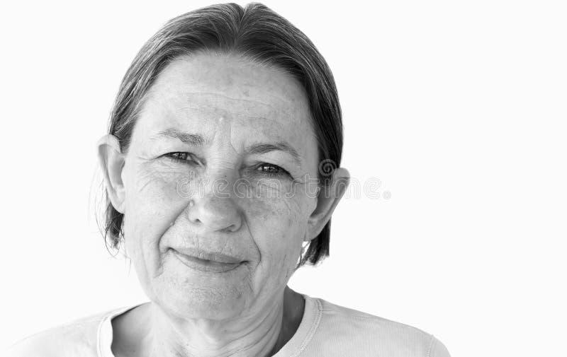 Älteres trauriges Frauen-Portrait stockbild