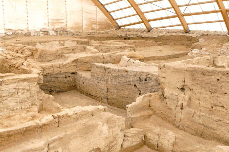 Älteste Stadt Catalhoyuk in der Welt lizenzfreies stockbild