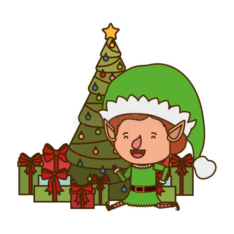 Älva med julträdet och gåvor royaltyfri illustrationer