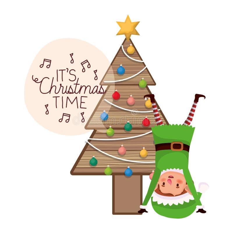 Älva med julträdet på trä royaltyfri illustrationer