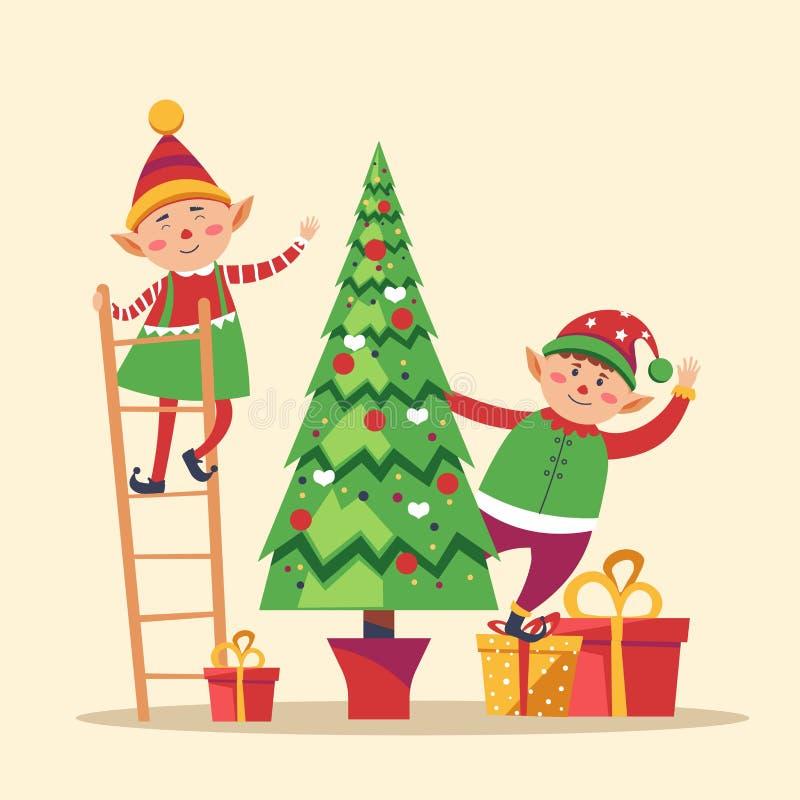 Älvor som förbereder jul, sörjer det vintergröna trädet för vinterferie stock illustrationer