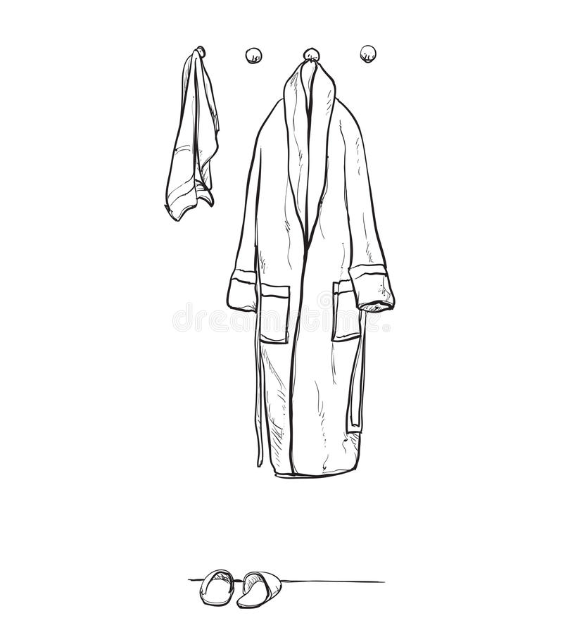 Ämbetsdräkten för duschen, badrocken, klotterstil, skissar illustrationen, den drog handen royaltyfri illustrationer
