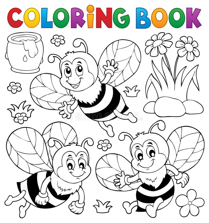 Ämne 1 för bin för färgläggningbok lyckligt vektor illustrationer