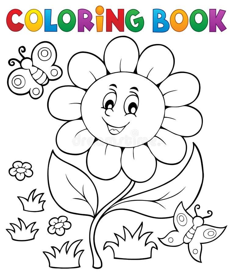 Ämne 6 för blomma för färgläggningbok royaltyfri illustrationer