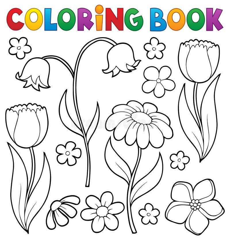 Ämne 9 för blomma för färgläggningbok stock illustrationer