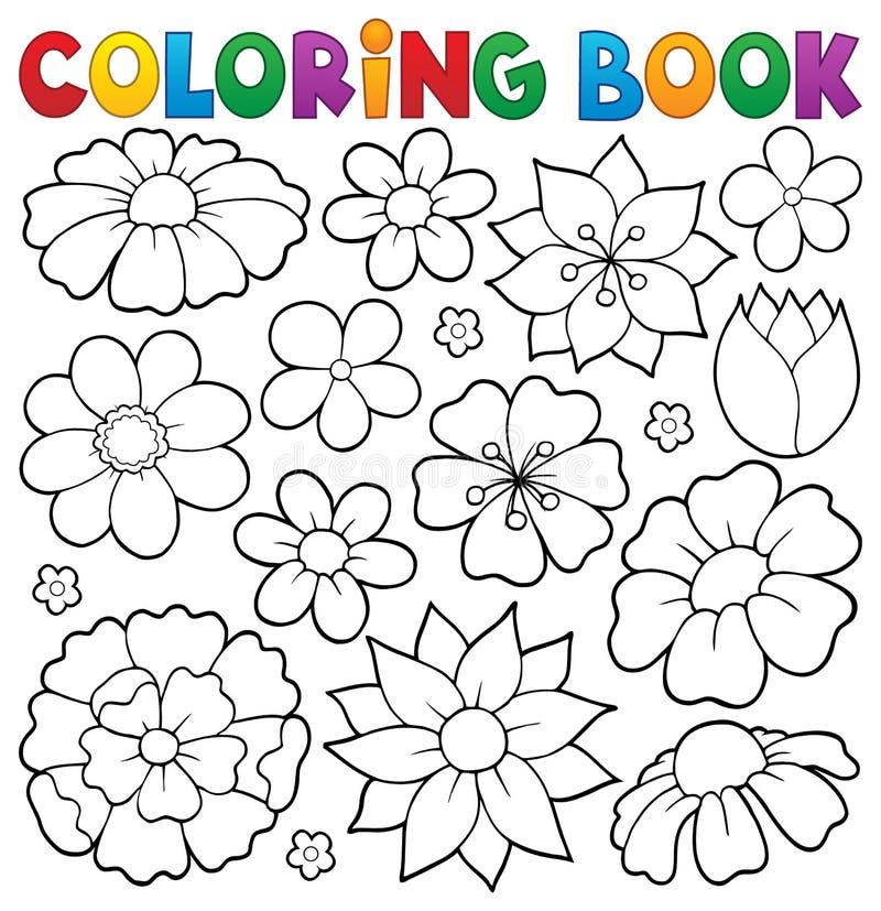 Ämne 1 för blomma för färgläggningbok royaltyfri illustrationer