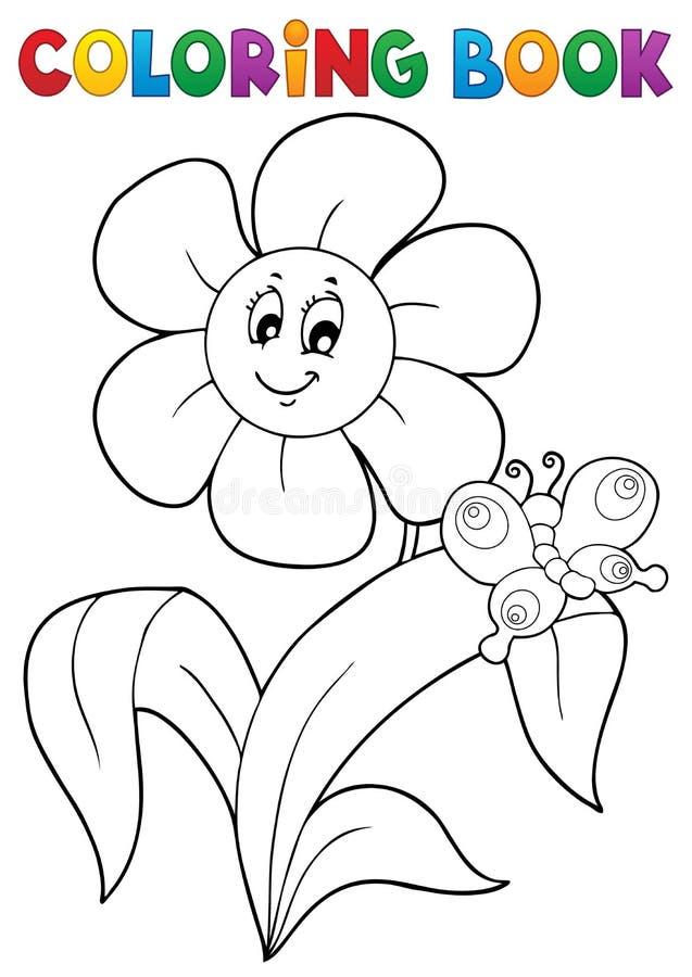 Ämne 4 för blomma för färgläggningbok vektor illustrationer