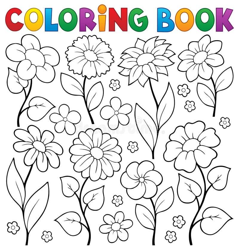 Ämne 3 för blomma för färgläggningbok vektor illustrationer