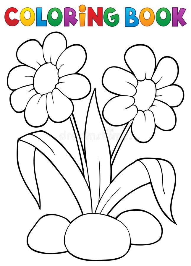 Ämne 1 för blomma för vår för färgläggningbok stock illustrationer