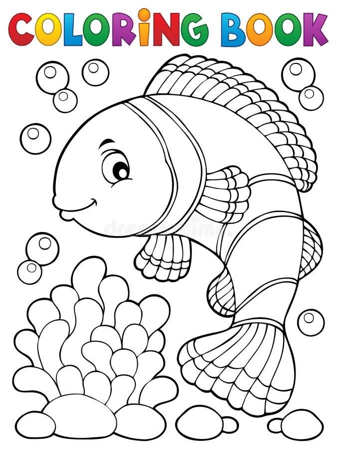 Ämne 1 för clownfish för färgläggningbok stock illustrationer