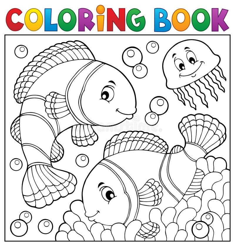 Ämne 3 för clownfish för färgläggningbok royaltyfri illustrationer