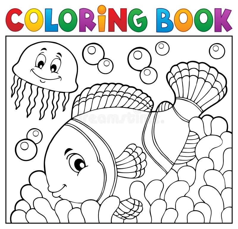 Ämne 2 för clownfish för färgläggningbok stock illustrationer