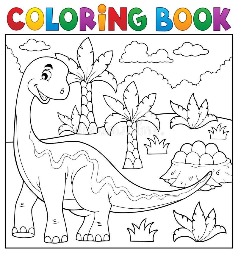 Ämne 6 för dinosaurie för färgläggningbok royaltyfri illustrationer