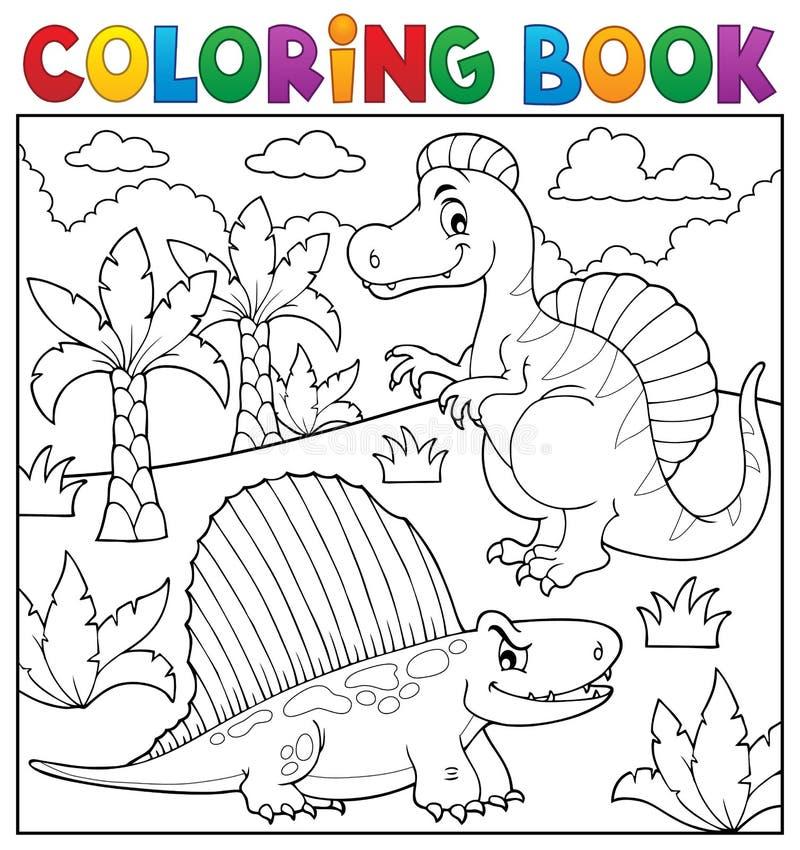 Ämne 7 för dinosaurie för färgläggningbok stock illustrationer