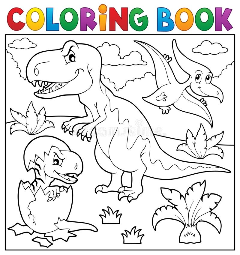 Ämne 9 för dinosaurie för färgläggningbok vektor illustrationer
