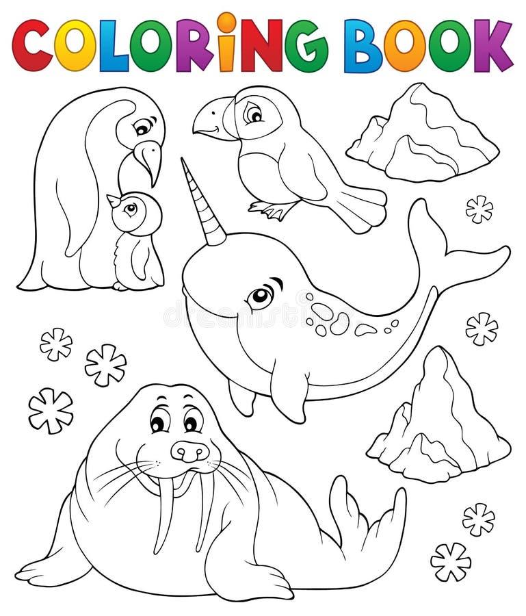 Ämne 1 för djur för vinter för färgläggningbok royaltyfri illustrationer