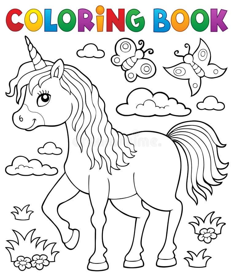 Ämne 1 för enhörning för färgläggningbok lyckligt vektor illustrationer