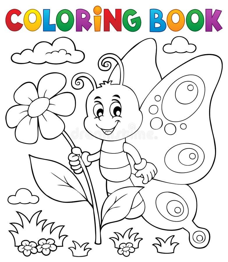 Ämne 4 för fjäril för färgläggningbok lyckligt royaltyfri illustrationer