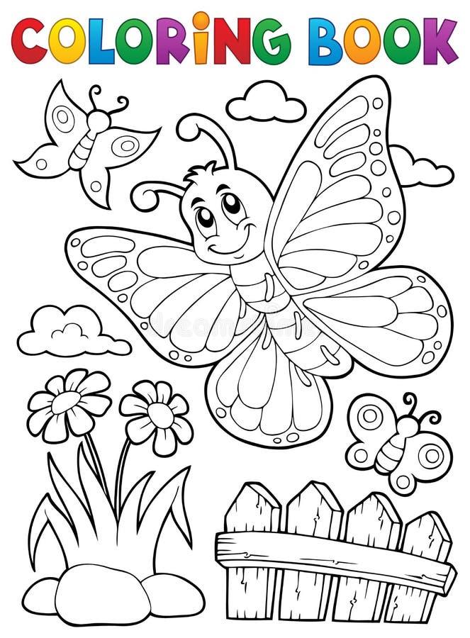 Ämne 5 för fjäril för färgläggningbok lyckligt stock illustrationer