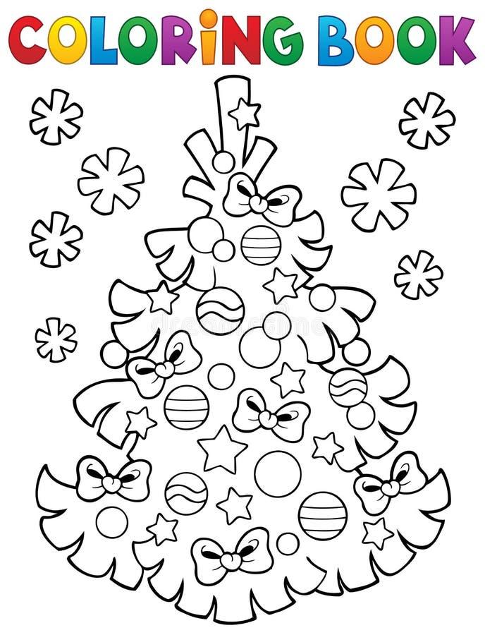Ämne 3 för julgran för färgläggningbok stock illustrationer