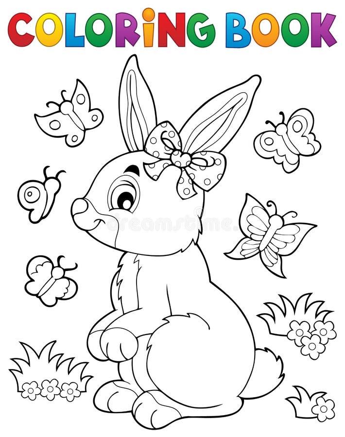 Ämne 2 för kanin för färgläggningbok vektor illustrationer