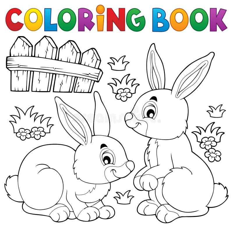 Ämne 1 för kanin för färgläggningbok stock illustrationer