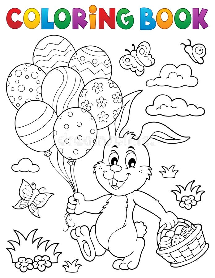 Ämne 2 för kanin för påsk för färgläggningbok vektor illustrationer