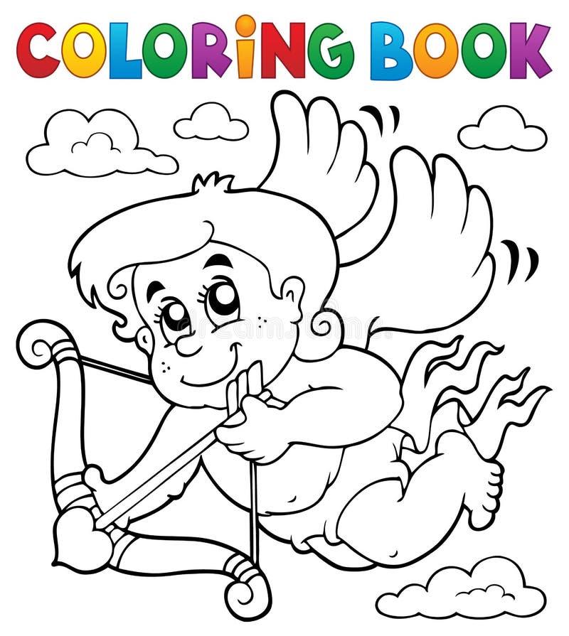 Ämne 6 för kupidon för färgläggningbok royaltyfri illustrationer
