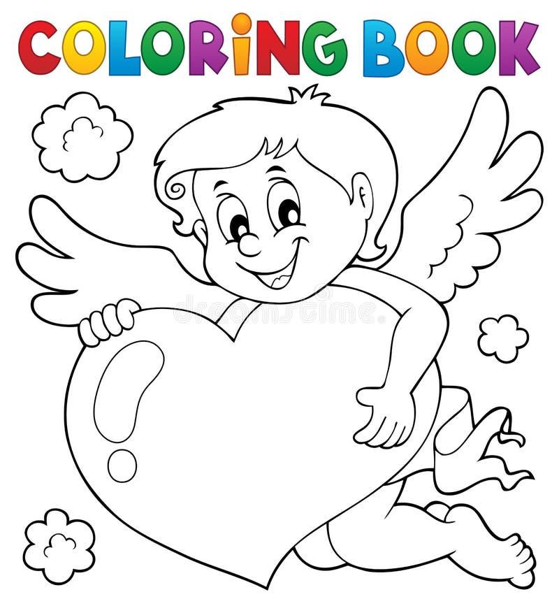 Ämne 4 för kupidon för färgläggningbok stock illustrationer