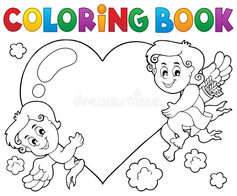 Ämne 1 för kupidon för färgläggningbok royaltyfri illustrationer