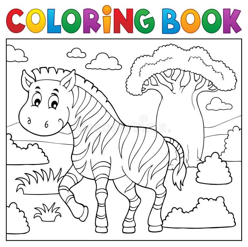 Ämne 4 för natur för färgläggningbok afrikanskt royaltyfri illustrationer