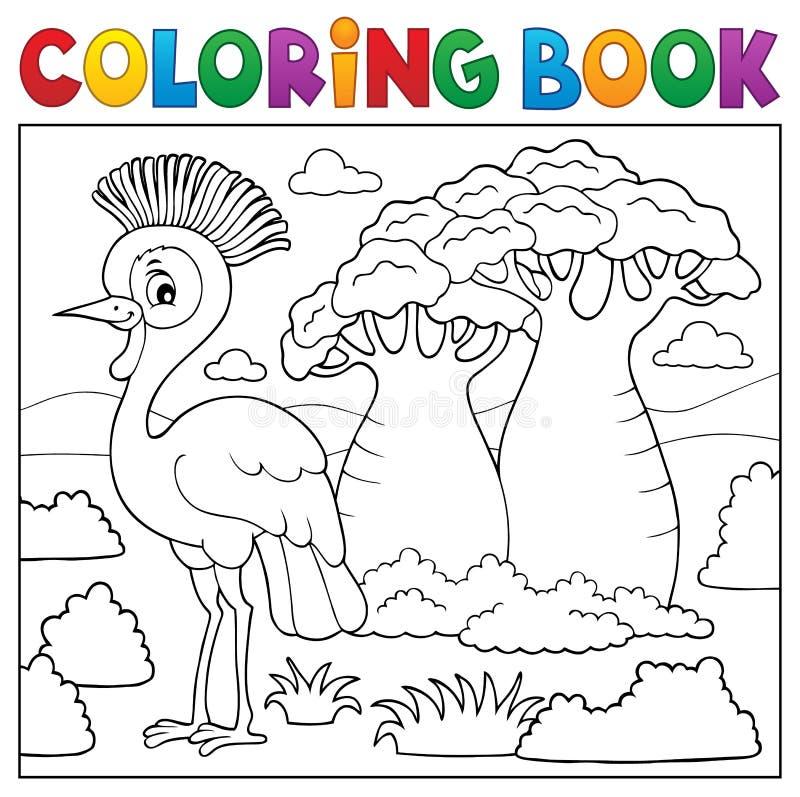 Ämne 5 för natur för färgläggningbok afrikanskt royaltyfri illustrationer