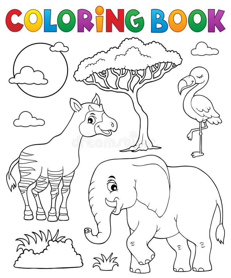 Ämne 6 för natur för färgläggningbok afrikanskt stock illustrationer