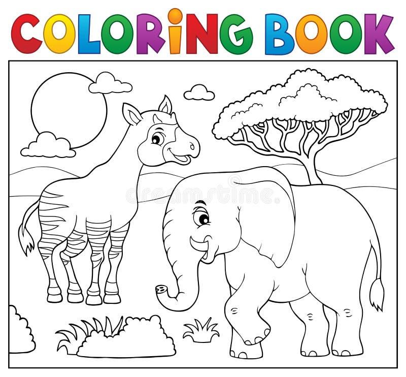 Ämne 7 för natur för färgläggningbok afrikanskt stock illustrationer