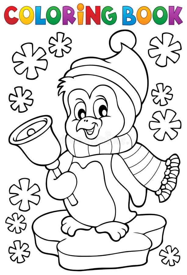 Ämne 1 för pingvin för jul för färgläggningbok stock illustrationer