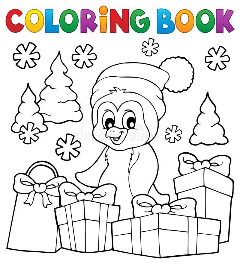 Ämne 3 för pingvin för jul för färgläggningbok royaltyfri illustrationer