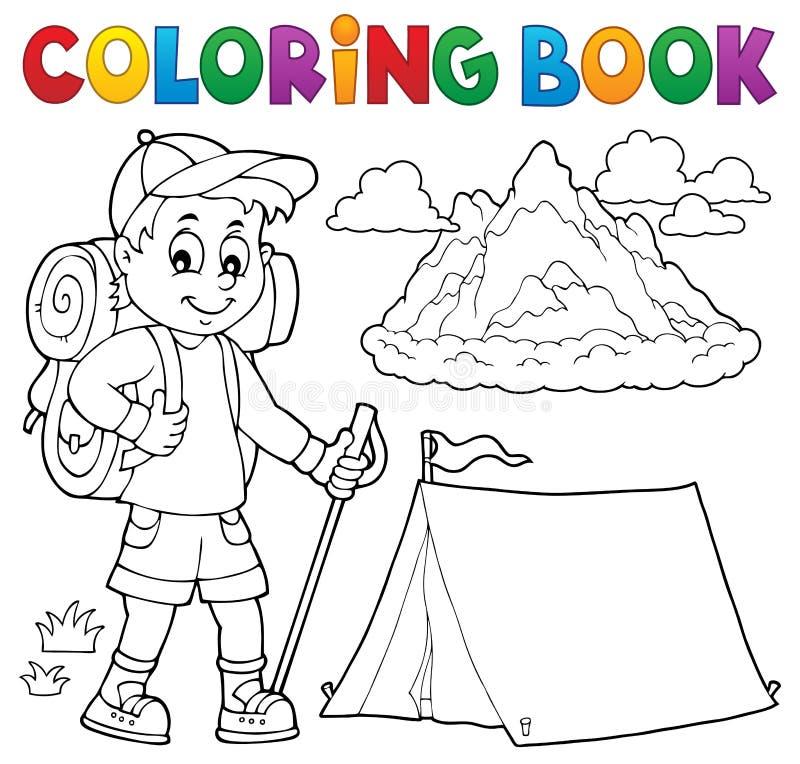 Ämne 1 för pojke för fotvandrare för färgläggningbok stock illustrationer