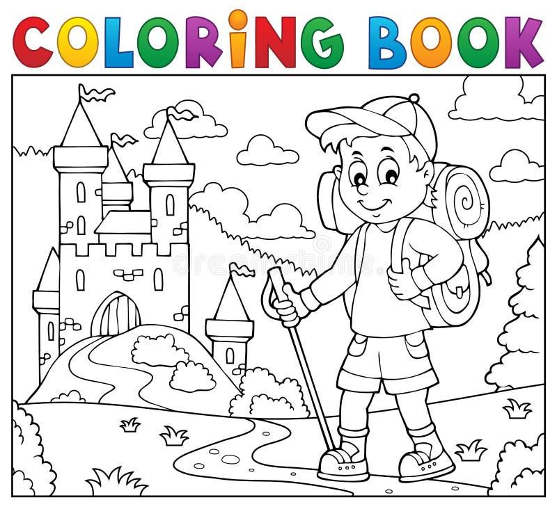Ämne 2 för pojke för fotvandrare för färgläggningbok royaltyfri illustrationer