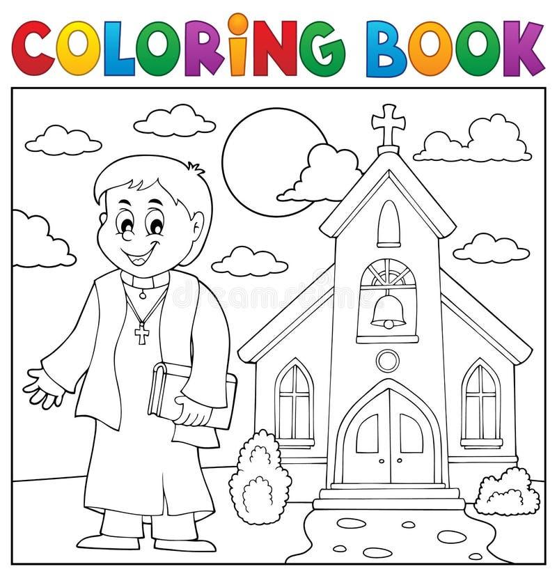 Ämne 3 för präst för färgläggningbok ungt royaltyfri illustrationer