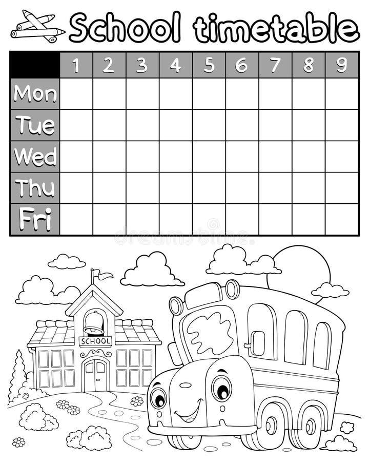 Ämne 8 för schema för färgläggningbok royaltyfri illustrationer