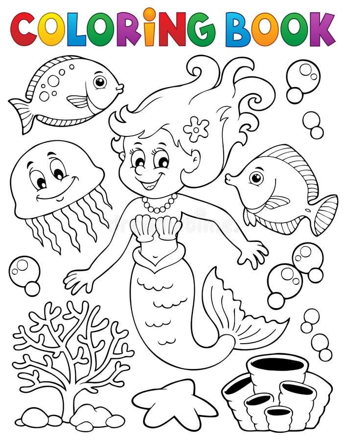 Ämne 2 för sjöjungfru för färgläggningbok royaltyfri illustrationer