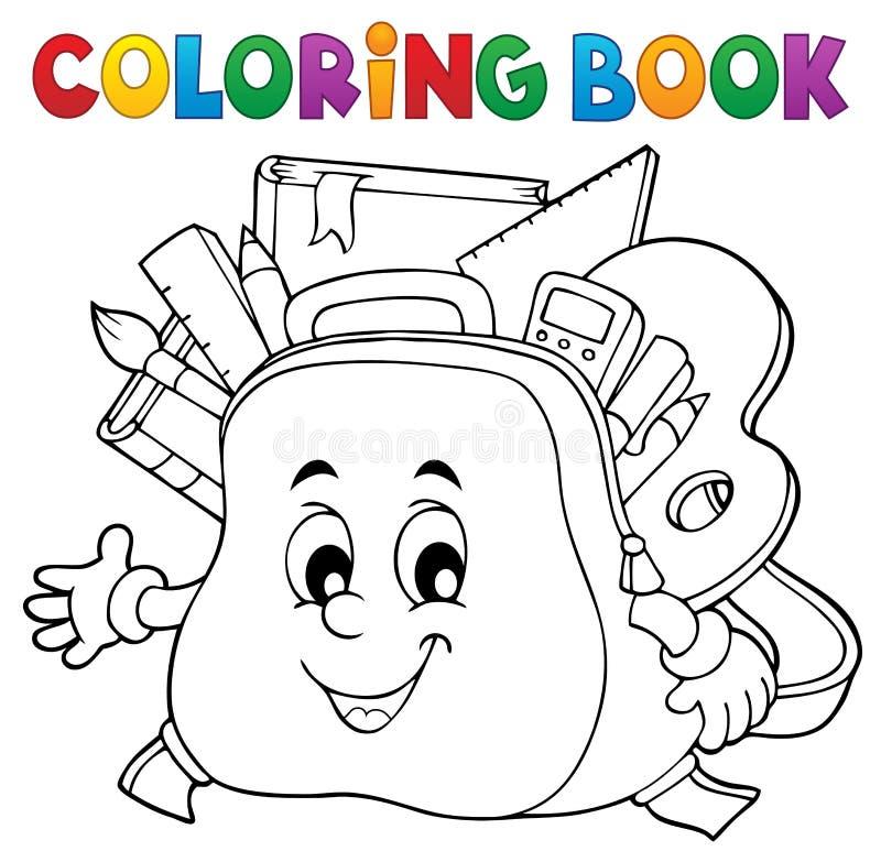 Ämne 1 för skolväska för färgläggningbok lyckligt royaltyfri illustrationer