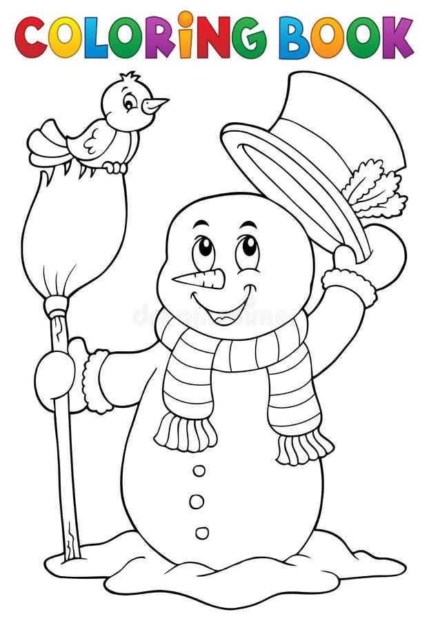 Ämne 4 för snögubbe för färgläggningbok royaltyfri illustrationer