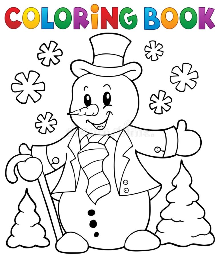 Ämne 1 för snögubbe för färgläggningbok vektor illustrationer