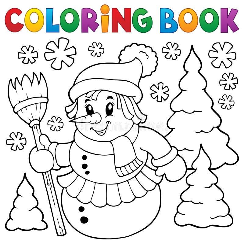 Ämne 1 för snowwoman för färgläggningbok royaltyfri illustrationer