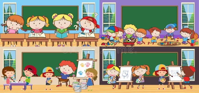 Ämne och studenter i klassrum stock illustrationer