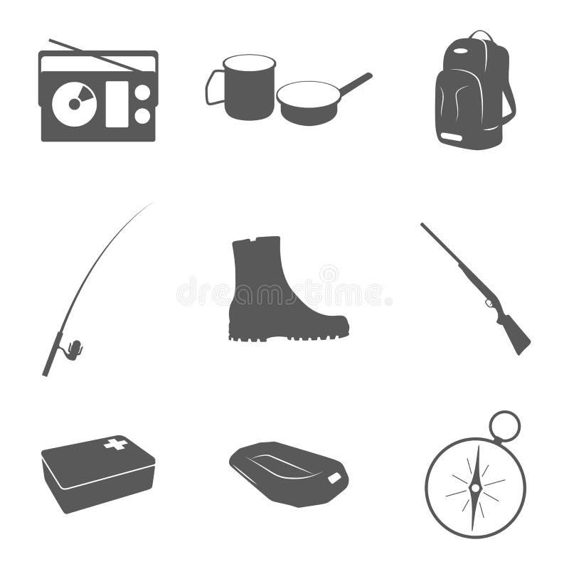 Ämnen för turism och rekreation stock illustrationer