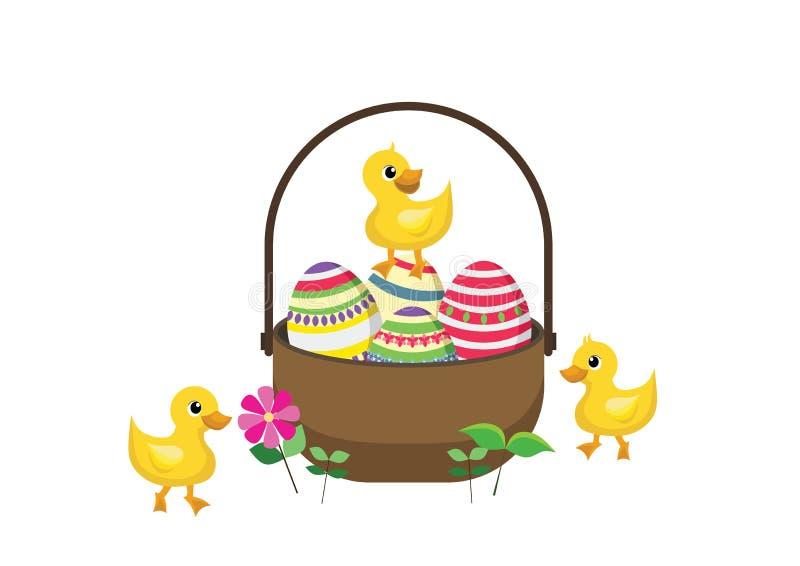 Änder med påskkorgen mycket av dekorerade påskägg stock illustrationer
