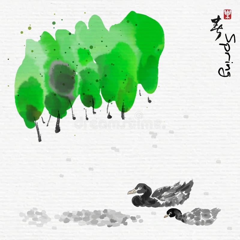 Änder som nära simmar i sjön vid skogen med kinesiskt konststil för måla, kinesiska tecken, betyder att tycka om våren stock illustrationer