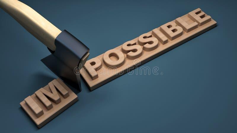 Ändern des Wortes unmöglich in mögliches auf hölzerner Planke lizenzfreie abbildung